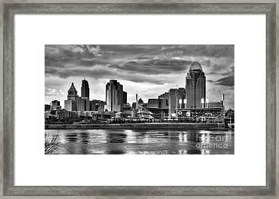 Cincinnati Evening Home Game Black And White Framed Print by Mel Steinhauer