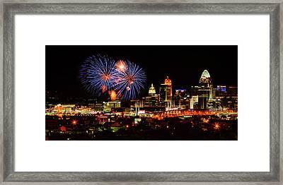Cincinnati Fireworks In Blue Framed Print