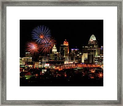 Cincinnati Fireworks Red Blue Framed Print
