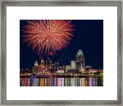 Cincinnati Fireworks Framed Print