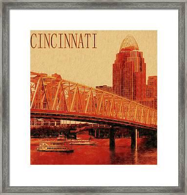 Cincinnati From Newport Levee Framed Print by Dan Sproul