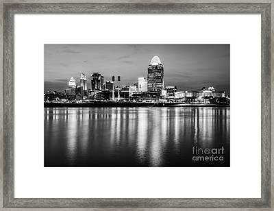 Cincinnati Night Skyline Black And White Photo Framed Print
