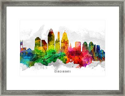 Cincinnati Ohio Cityscape 12 Framed Print by Aged Pixel
