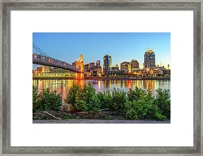 Cincinnati Ohio Downtown Skyline - City In Color Framed Print