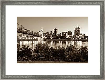 Cincinnati Ohio Downtown Skyline - City In Sepia Framed Print