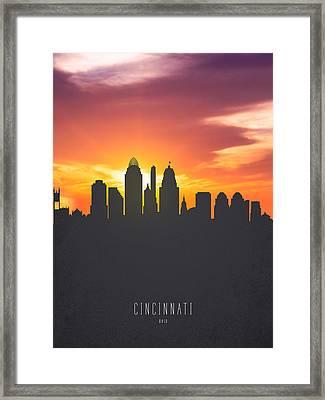 Cincinnati Ohio Sunset Skyline 01 Framed Print by Aged Pixel