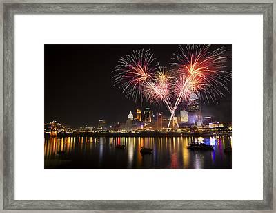 Cincinnati Reds Fireworks  Framed Print