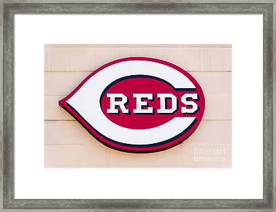 Cincinnati Reds Logo Sign Framed Print by Paul Velgos