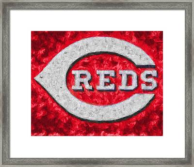 Cincinnati Reds On Canvas Framed Print by Dan Sproul
