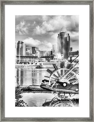 Cincinnati River Days Bw Framed Print