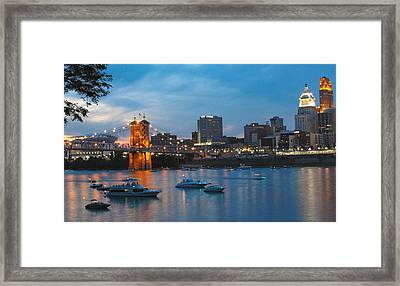 Cincinnati River Front Framed Print by John Mullins