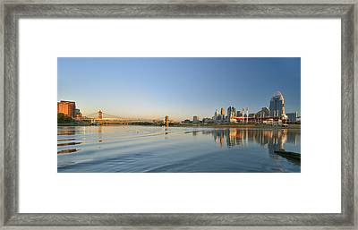 Cincinnati Riverfront Panorama Framed Print