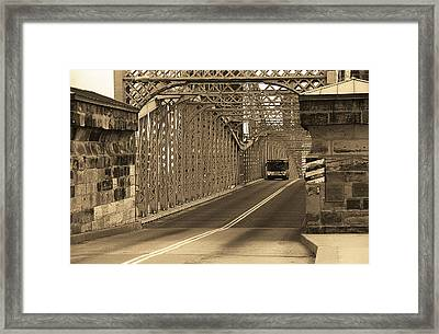 Cincinnati - Roebling Bridge 1 Sepia Framed Print by Frank Romeo