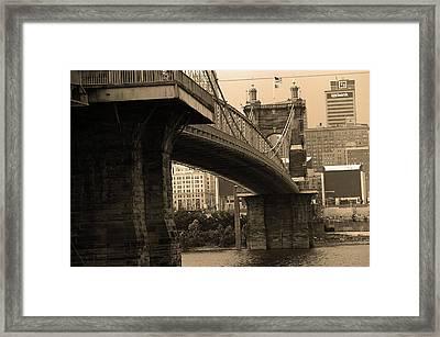 Cincinnati - Roebling Bridge 2 Sepia Framed Print by Frank Romeo
