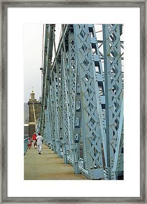 Cincinnati - Roebling Bridge 3 Framed Print by Frank Romeo