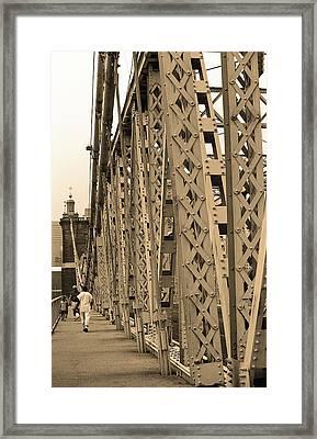 Cincinnati - Roebling Bridge 3 Sepia Framed Print by Frank Romeo