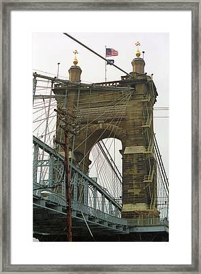 Cincinnati - Roebling Bridge 4 Framed Print by Frank Romeo