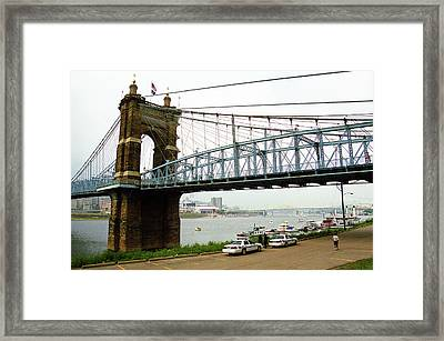 Cincinnati - Roebling Bridge 5 Framed Print by Frank Romeo