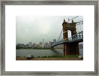 Cincinnati - Roebling Bridge 6 Framed Print by Frank Romeo