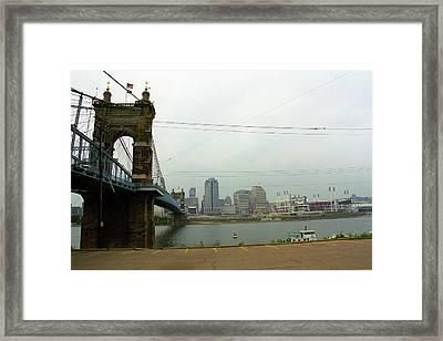 Cincinnati - Roebling Bridge 7 Framed Print by Frank Romeo