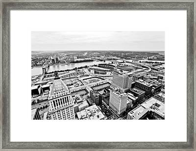 Cincinnati Skyline Aerial Framed Print by Paul Velgos