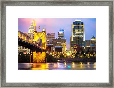 Cincinnati Skyline And The John Roebling Suspension Bridge Framed Print