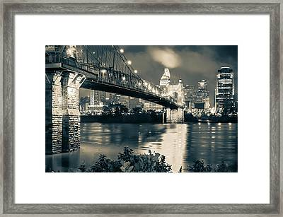 Cincinnati Skyline At Night In Sepia Framed Print