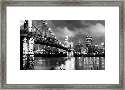 Cincinnati Skyline At Twilight - Black And White Framed Print