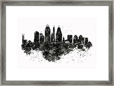 Cincinnati Skyline Black And White Framed Print