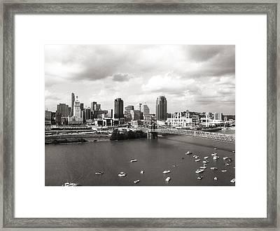 Cincinnati Skyline Bw Framed Print