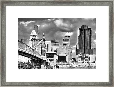 Cincinnati Skyline In Black And White Framed Print