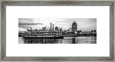 Cincinnati Skyline Panorama In Black And White Framed Print