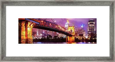 Cincinnati Skyline Panorama - Ohio - Usa Framed Print by Gregory Ballos