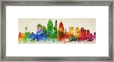 Cincinnati Skyline Panorama Usohci-pa03 Framed Print