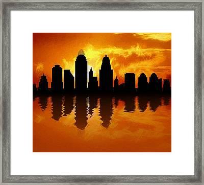 Cincinnati Skyline Sunset Reflection Framed Print