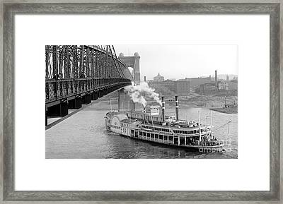 Cincinnati Suspension Bridge And Steamboat 1906 Bw Framed Print by Padre Art