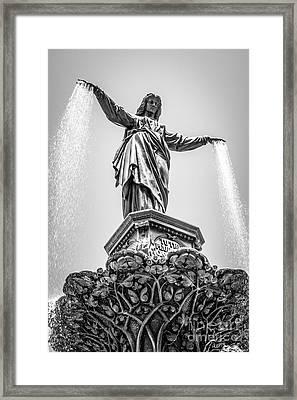 Cincinnati Tyler Davidson Fountain Black And White Picture Framed Print by Paul Velgos
