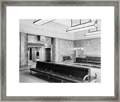 Cincinnati Union Terminal, Mens Lounge Framed Print by Everett