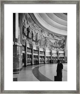Cincinnati Union Terminal, Mural Framed Print by Everett