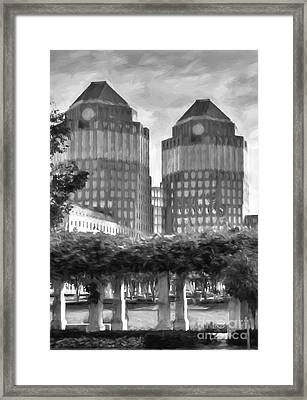 Cincinnati's Twin Towers Black And White Framed Print