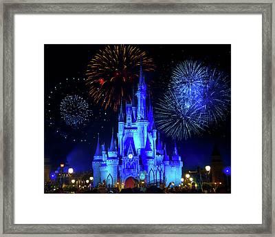 Cinderella Castle Fireworks Framed Print