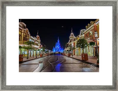 Cinderella Castle Glow Over Main Street Usa Framed Print