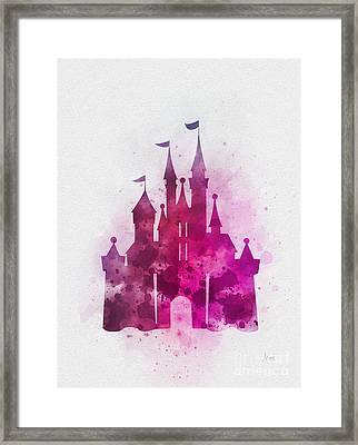 Cinderella Castle Pink Framed Print by Rebecca Jenkins