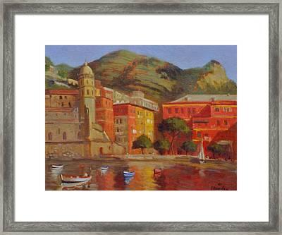 Cinqua Terra Italian Fishing Village Framed Print by David Olander