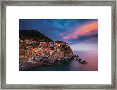 Cinque Terre At Dusk Framed Print