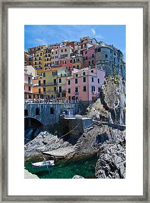 Cinque Terre Harbor And Town Framed Print