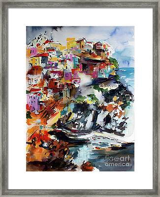 Framed Print featuring the painting Cinque Terre Italy Manarola by Ginette Callaway