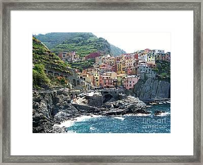 Cinque Terre Manarola Framed Print by Marilyn Dunlap