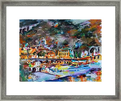 Framed Print featuring the painting Cinque Terre Monterosso At Night by Ginette Callaway