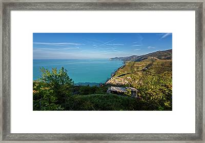 Cinque Terre Panorama Framed Print by Joan Carroll